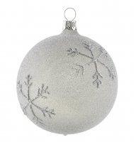 Silber graue christbaumkugeln besandet mit schneeflocken for Weihnachtskugeln glas grau