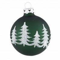 christbaumkugeln mit winterwald in tannengr n wei shop. Black Bedroom Furniture Sets. Home Design Ideas