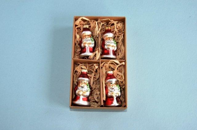 4er Set Nikolaus Aus Glas 6 Cm Shop Weihnachtskugeln De
