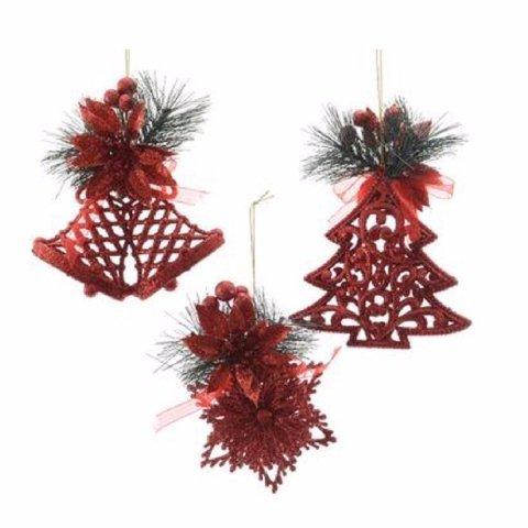 Christbaumanhanger Mit Verzierung Rot Shop Weihnachtskugeln De