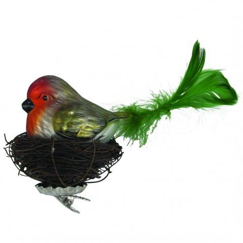 Vogel Auf Nest Grun 20cm Glas Shop Weihnachtskugeln De