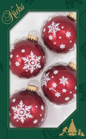 weihnachtskugeln schneeflocken rubinrot 7cm 4er set glas. Black Bedroom Furniture Sets. Home Design Ideas