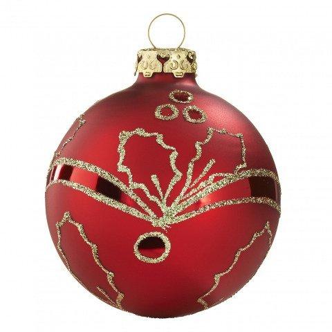 ilexranken christbaumkugeln 7cm rot gold handdekoriert. Black Bedroom Furniture Sets. Home Design Ideas