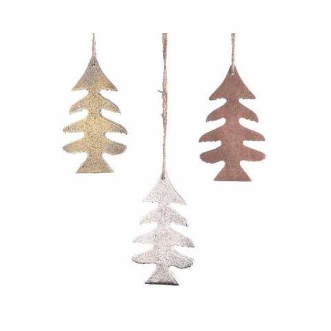 Tannenbaum Aus Blech.Tannenbaum Zum Aufhängen In Gold Silber Und Bronze 10 5cm
