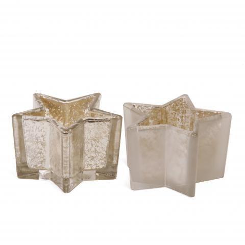 Teelicht in sternform in silber aus glas shop - Weihnachtstischdeko silber ...