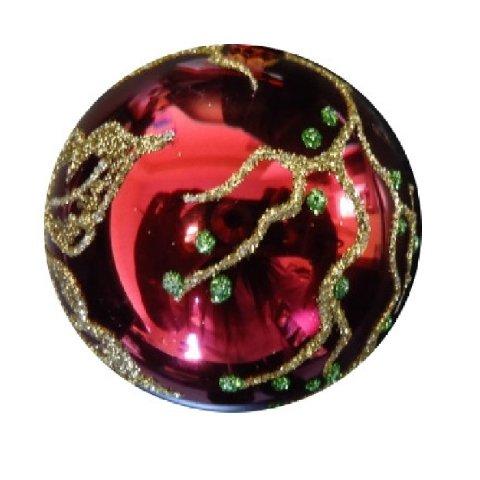 christbaumkugel glas mit der grundfarbe rot und mit. Black Bedroom Furniture Sets. Home Design Ideas