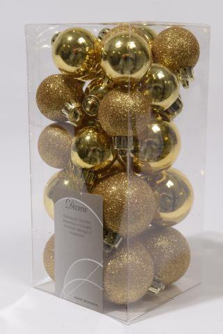 kugelset aus kunststoff gold glimmer und gold gl nzend shop. Black Bedroom Furniture Sets. Home Design Ideas