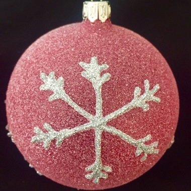 Einzelne Christbaumkugeln.3 Stuck Christbaumkugeln Mundgeblasen Besandet Rot Silber
