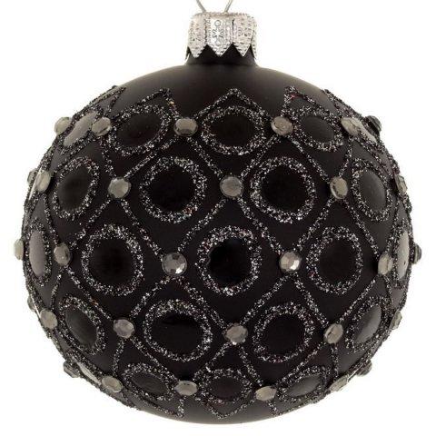 Schwarz Weiße Christbaumkugeln.4er Set Weihnachtskugeln Mustermix Schwarz