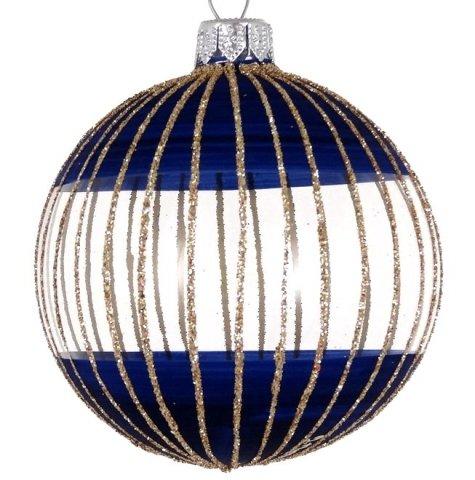 Weihnachtskugeln Blau.6 Stück Weihnachtskugeln Blau Mit Goldenen Streifendekor 8cm