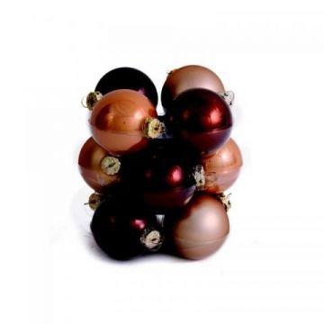 Cappuccino mix weihnachtskugeln 3 cm aus glas in einem 12er set shop - Weihnachtskugeln cappuccino ...