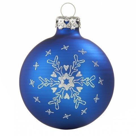 Tiefdruck Glaskugeln Schneeflocken royalblau 7cm | shop ...