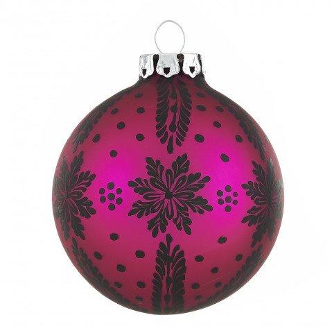 Weihnachtskugeln Pink.Christbaumkugeln Sternenzweige Pink Matt Schwarz