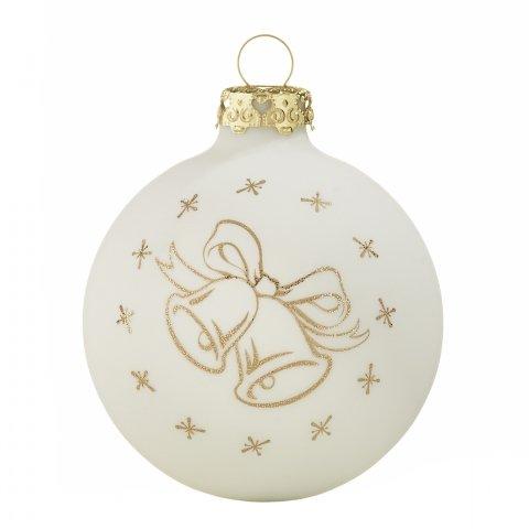 Christbaumkugeln Weiß Eislack.Christbaumkugeln Weihnachtsglocken Weiß Champagnergold 7cm 4er Set
