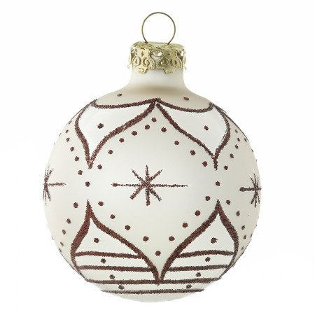 Zarenfenster christbaumkugeln 7cm elfenbein handdekoriert shop - Weihnachtskugeln cappuccino ...