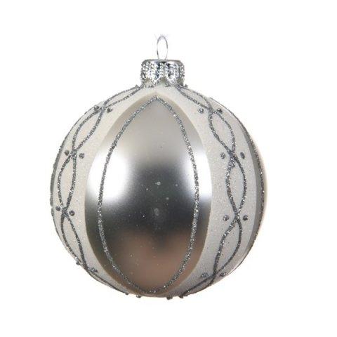 glaskugel wellen dekor silber 8cm 6er set shop. Black Bedroom Furniture Sets. Home Design Ideas