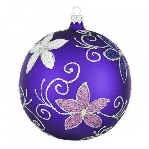 sehr gro e weihnachtskugeln violett mit blumen 12 cm 4. Black Bedroom Furniture Sets. Home Design Ideas