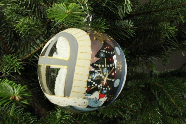Glaskugel 8cm mundgeblasen und handbemalt shop - Weihnachtskugeln fenster ...