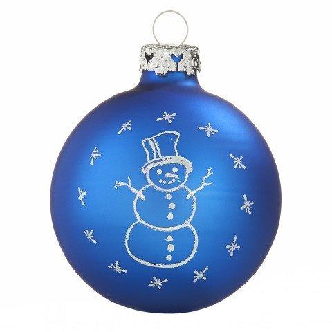 Tiefdruck glaskugeln schneemann royalblau 7cm shop for Weihnachtskugeln bilder