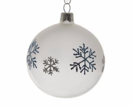 Weihnachtskugel glas schneeflocke shop for Weihnachtskugeln glas grau