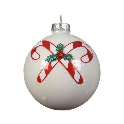 Christbaumkugeln Weiß 8cm.Weihnachtskugel Weiß Zuckerstange 8cm 3er Set