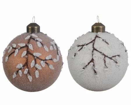 Weihnachtskugeln Weiß.Weihnachtskugeln Weiß Oder Braun Mit Zweigen 8 5cm