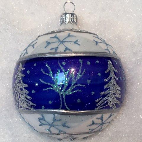 Weihnachtskugeln Blau.Weihnachtskugeln Winterwald Weiß Blau Glas 8cm 6er Set