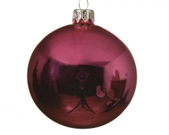 Christbaumschmuck Glaskugel Flashingpink glänzend 10 cm 4er Set