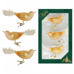 Christbaumschmuck Vogel 3er Set, Gold transparent, 11cm, Glas
