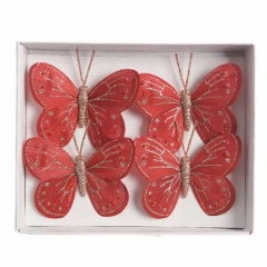 Schmetterling in Rot/Gold, 4er Set