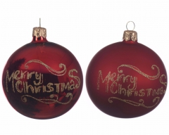 Weihnachtskugel Marry Christmas aus Glas in Rot, 8cm 6er Set