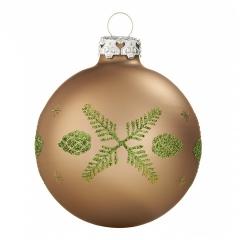 Weihnachtskugeln 8cm GLAS Christbaumkugeln Motive Muster Hirsch Champagner Beige