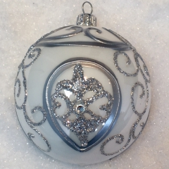 Weihnachtskugeln Weiß Silber.Weihnachtskugeln Barock Weiß Silber Glas 8cm 6er Set
