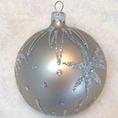 Silberne Weihnachtskugeln.Weihnachtskugeln Sternschnuppe Braun Silber Glas 8cm 6er Set
