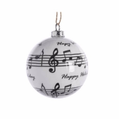 Schwarz Weiße Christbaumkugeln.Weihnachtskugel In Weiß Mit Musiknoten 8cm 3er Set